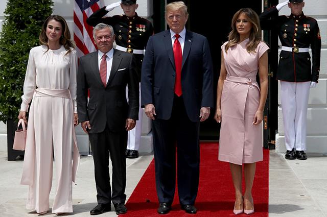 Королева Рания, король Абдалла, Дональд и Мелания Трамп