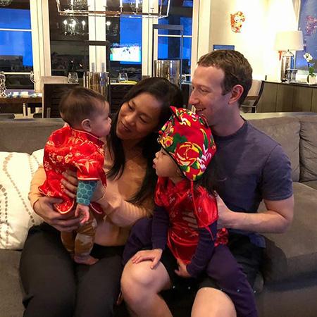 Присцилла Чан и Марк Цукерберг с детьми