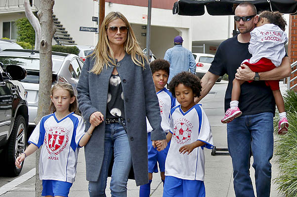 Хайди Клум с детьми и Мартин Кристен