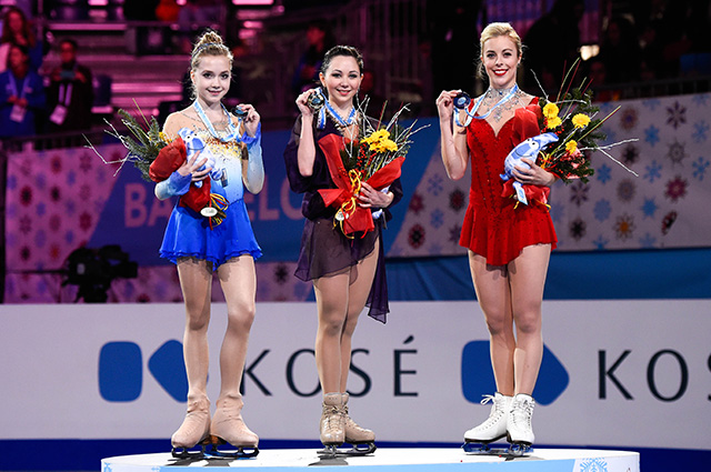 Елена Радионова, Елизавета Туктамышева и Эшли Вагнер на финале Гран-При в Барселоне, 2014 год