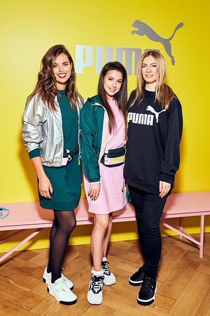 Юлия Шарапова, Алина Загитова и директор по маркетингу Puma Виктория Строгонова