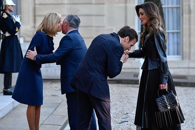 Первая леди Франции Брижит Маркон, король Иордании Абдалла II, президент Франции Эммануэль Макрон и королева Иордании Рания