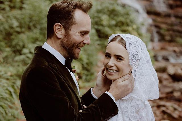 Лили Коллинз вышла замуж за Чарли Макдауэлла: первые свадебные фото